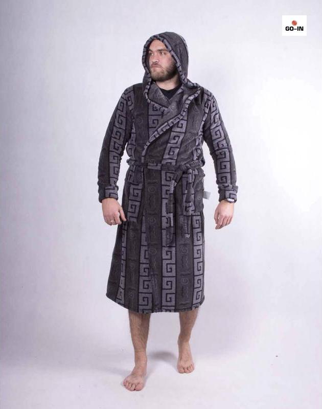 Мужской махровый халат теплый с капюшоном