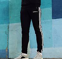 Мужские зимние спортивные штаны Adidas спортивки адидас черные теплые. Живое фото. Реплика