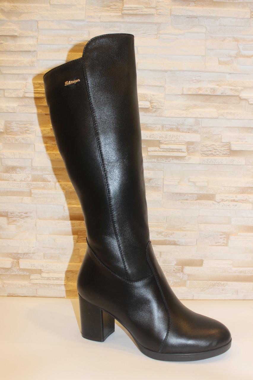 Сапоги женские зимние черные на каблуке натуральная кожа С827