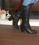 Сапоги женские зимние черные на каблуке натуральная кожа С827, фото 4