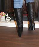 Сапоги женские зимние черные на каблуке натуральная кожа С827, фото 5