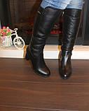 Сапоги женские зимние черные на каблуке натуральная кожа С827, фото 6