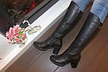 Сапоги женские зимние черные на каблуке натуральная кожа С827, фото 7