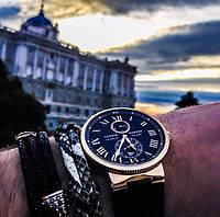 Мужские наручные часы Ulysse Nardin Maxi Marine Chronometer Quartz Gold Black не оригинал