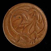 Монета Австралии 2 цента 1982 г. Ящерица