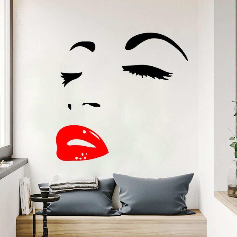 """Наклейка на стену """"Лицо девушки красные губы"""", цвет черный, размер 59*56 см."""