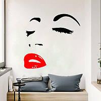 """Наклейка на стену """"Лицо девушки красные губы"""", цвет черный, размер 59*56 см., фото 1"""