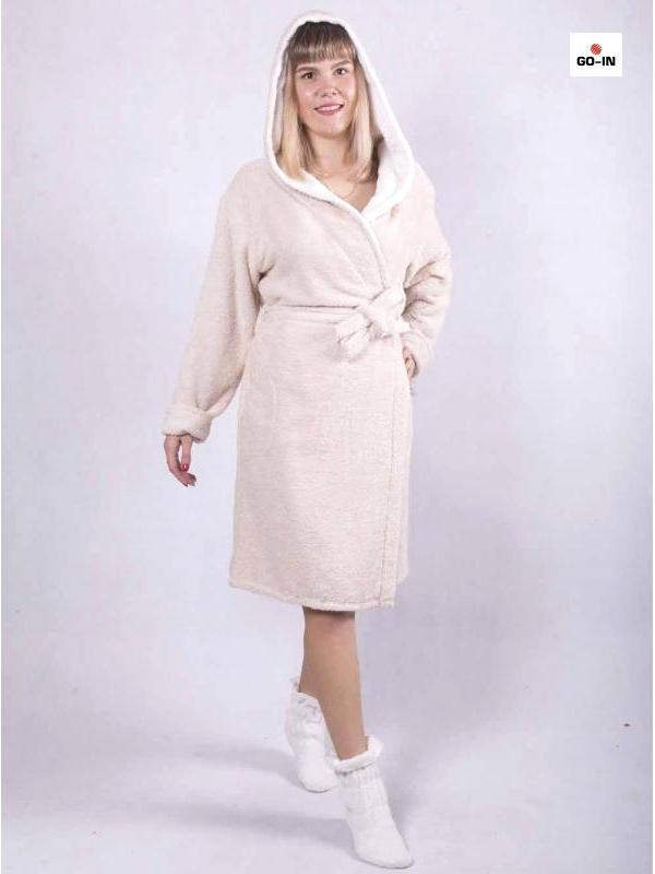 Халат бавовняний жіночий короткий з капюшоном