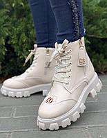 Ботинки женские зимние 6 пар в ящике бежевого цвета 36-40, фото 2
