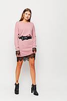 Короткое розовое ангоровое платье с кружевом, фото 1