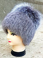 Женская меховая шапка Klaus Кролик с бубоном из  Чернобурки Серый (18/112)