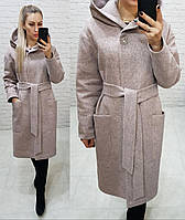 Утеплённое кашемировое пальто  с капюшоном на утеплителе, арт 176, цвет розовый меланж (4)