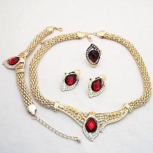 Ювелірний набір прикрас намисто, перстень, сережки та браслет код 1728
