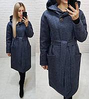 Утеплённое кашемировое пальто на утеплителе с капюшоном,арт 176, цвет  тёмно синий  (5), фото 1