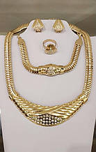 Набір прикрас намисто, браслет, сережки і кільце код 1730