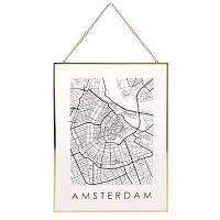 Декор настенный Карта на стекле, Амстердам