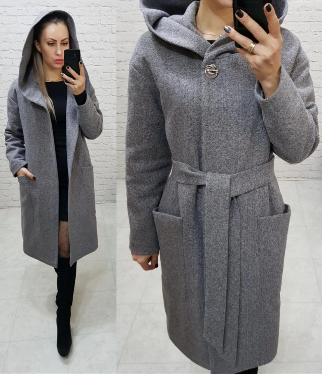 Утеплене кашемірове пальто з капюшоном на утеплювачі, арт 176, колір сірий класика (8)