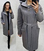 Утеплене кашемірове пальто з капюшоном на утеплювачі, арт 176, колір сірий класика (8), фото 1
