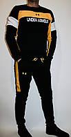"""Костюм спортивный мужской теплый на флисе """"Ундер армоур"""" черно желтый"""