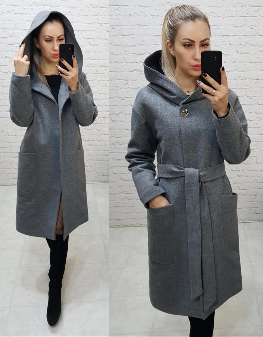 Утеплене кашемірове пальто з капюшоном на утеплювачі, арт 176, колір темно сірий(9)