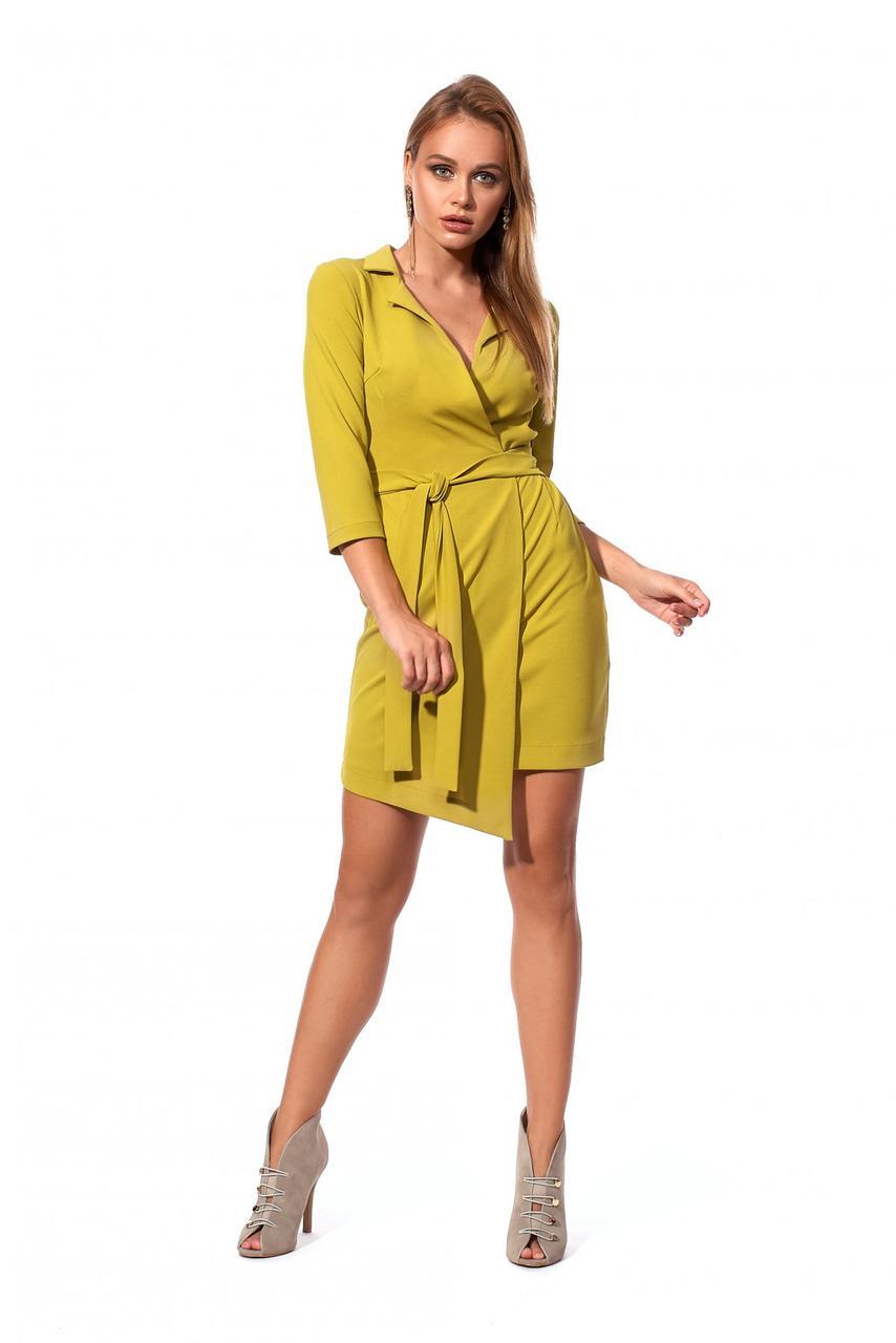 Офисное мини платье асиметричное цвет оливковый