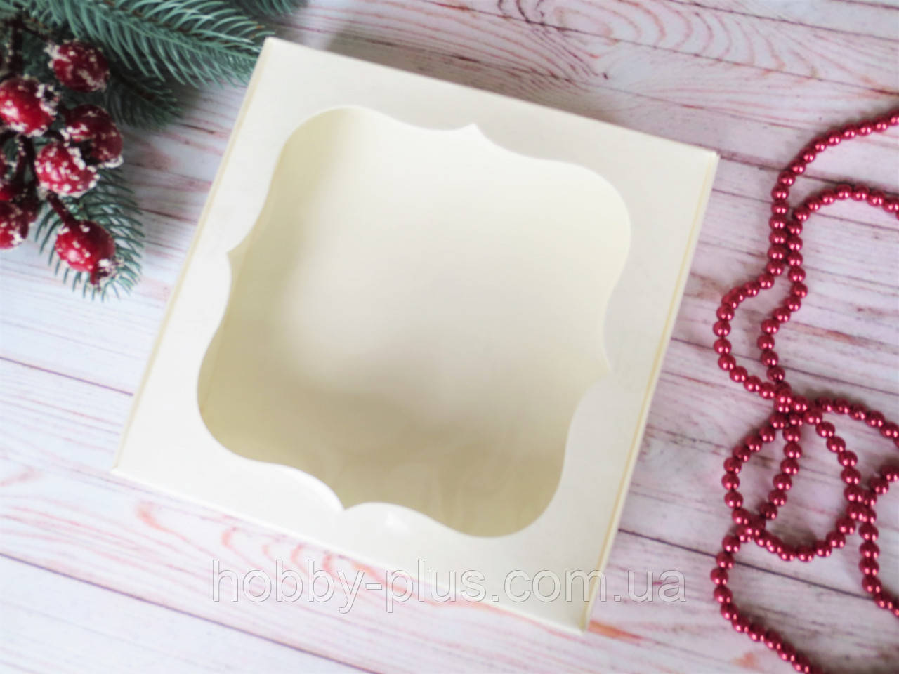 Коробка для изделий ручной работы с окном, 150х150х30 мм, цвет молочный, 1шт