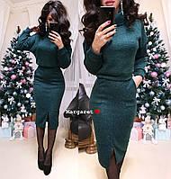 Костюм женский стильный теплый ангора укороченная и юбка миди Kmk1123