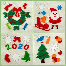 Новогодние силиконовые наклейки на окна TOO-1