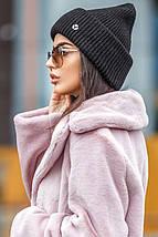Молодіжна в'язана шапка-біні різних кольорів з люрексом, фото 2