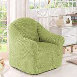 Чехол натяжной на диван и 2 кресла без оборки MILANO рыжий Турция 219, фото 5