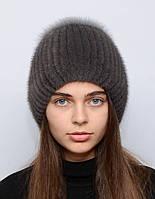 "Женская норковая шапка на вязаной основе ""Бубон-разрез"", фото 1"