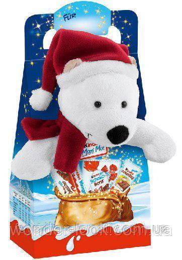 Новогодний подарок сладости и мягкая игрушка Kinder Maxi Mix 135g