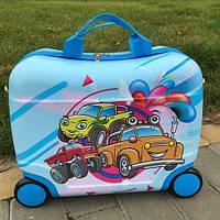 Детский чемодан каталка для мальчика на колесах машинки