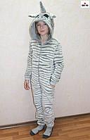 Пижама комбинезон махровый единорг детский шиншилла теплый кигуруми р. 34-38