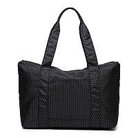Женская дорожная сумка с креплением на ручку чемодана. Черная в горох