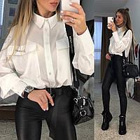 Рубашка женская трендовая с накладными карманами и надписью Мечтай Bpr400