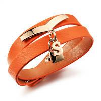 Браслет кожаный женский с декором оранжевого цвета