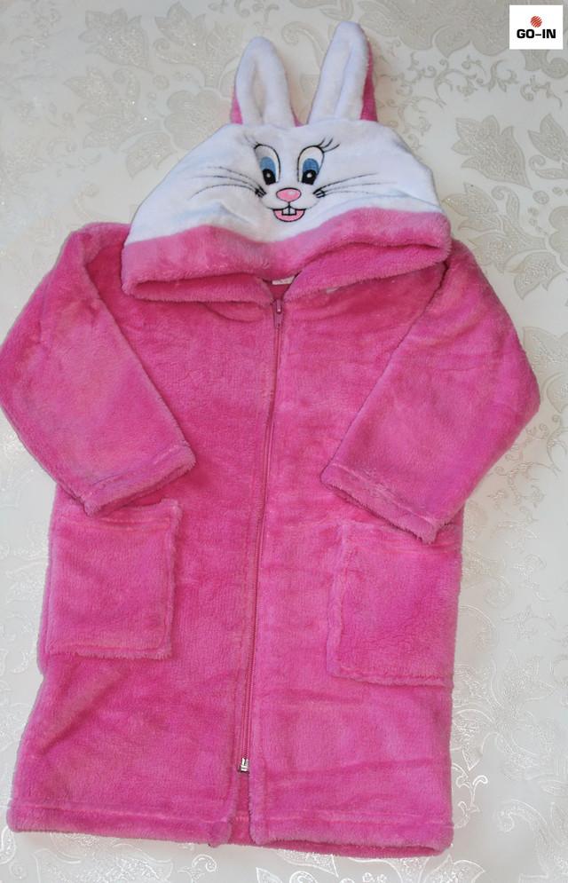 Халат махровий дитячий рожевий на блискавці короткий Зайчик з вушками