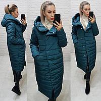 Зимнее пальто пуховик большие размеры, арт 180, цвет бутылочный зелёный