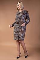 Женское платье из ангоры с леопардовым принтом