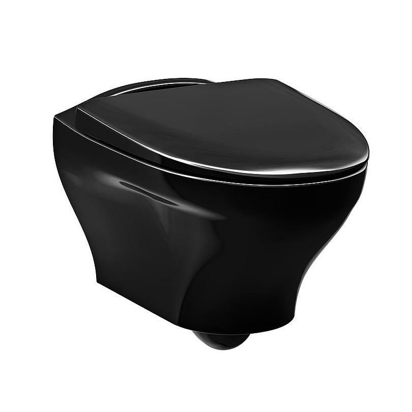 Унитаз подвесной Gustavsberg Estetic GB1183300S0030 с крышкой soft-close, черный глянцевый