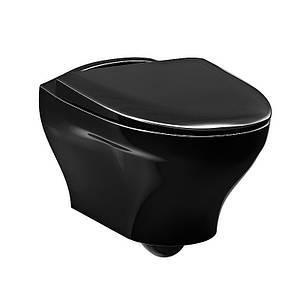 Унитаз подвесной Gustavsberg Estetic GB1183300S0030 с крышкой soft-close, черный глянцевый, фото 2