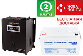 Комплект резервного питания для котла LPY-W-PSW-500VA+(350W)5A/10A  и АКБ мультигель AGM LPM-MG 12 - 65AH