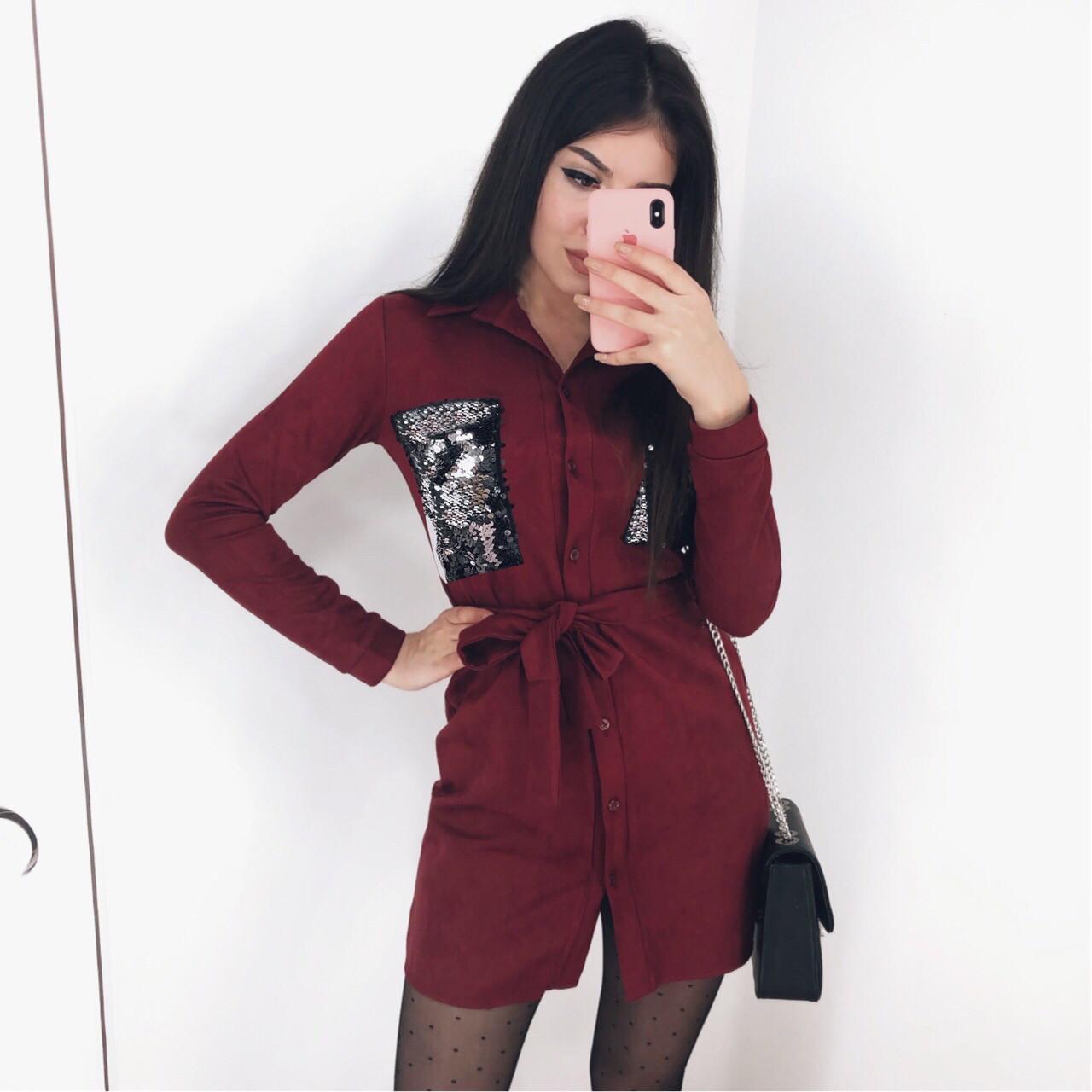 Платье женское замшевое чёрное, бордо