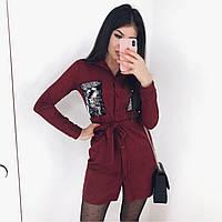 Платье женское замшевое чёрное, бордо, фото 1