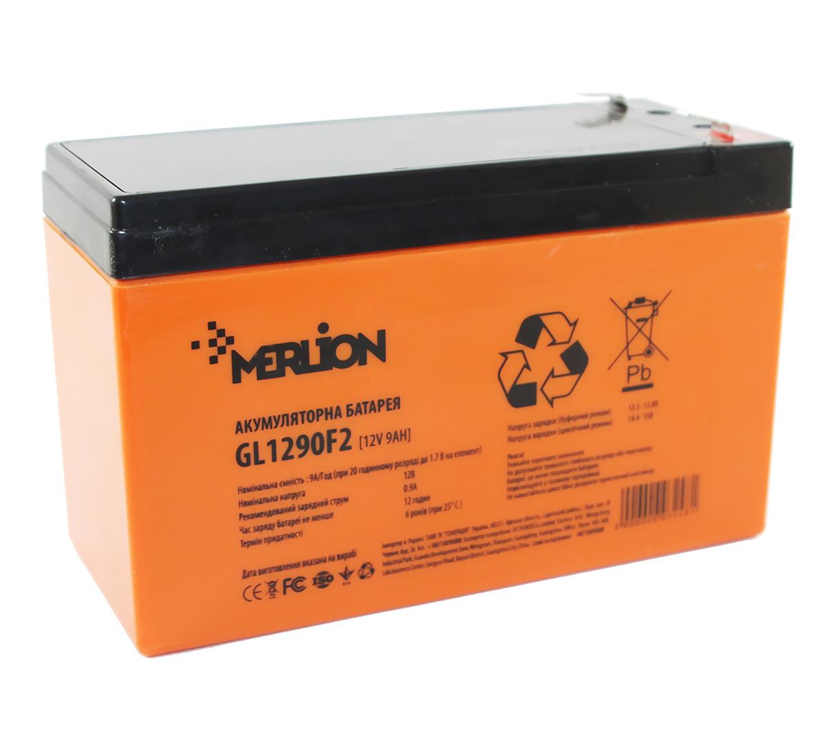 Аккумулятор для ИБП 12В 9Ач Merlion, GL1290F2, ШхДхВ 65х150х95
