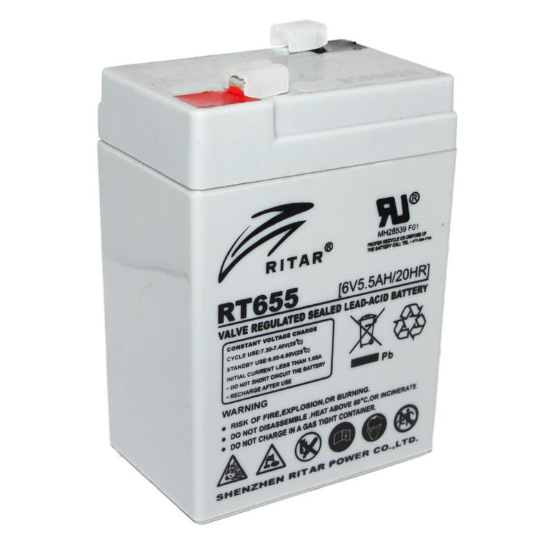 Аккумулятор для ИБП 6В 5.5Ач AGM Ritar RT655 RT655 / 6V 5.5Ah / 70х47х107мм
