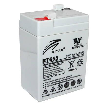 Аккумулятор для ИБП 6В 5.5Ач AGM Ritar RT655 RT655 / 6V 5.5Ah / 70х47х107мм, фото 2