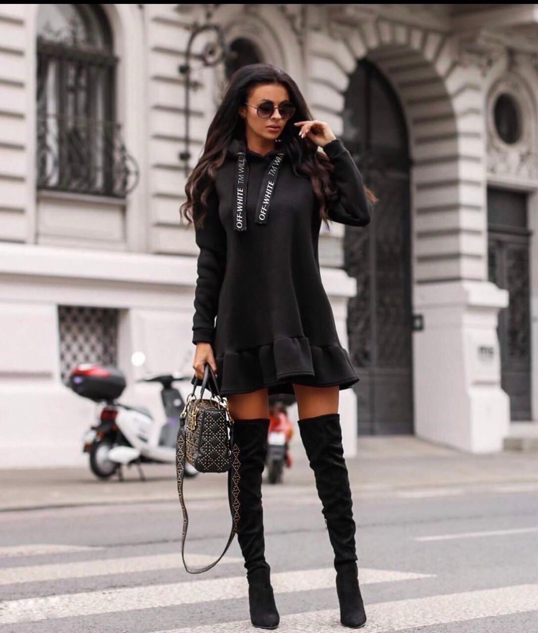 Платье женское тёплое чёрное, красное, 42-44, 44-46