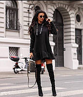 Платье женское тёплое чёрное, красное, 42-44, 44-46, фото 1